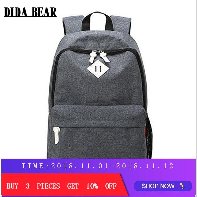 купить DIDA BEAR Fashion Canvas Backpacks Large School bags for Girls Boys Teenagers Laptop Bags Travel Rucksack mochila Gray Women Men по цене 879.07 рублей