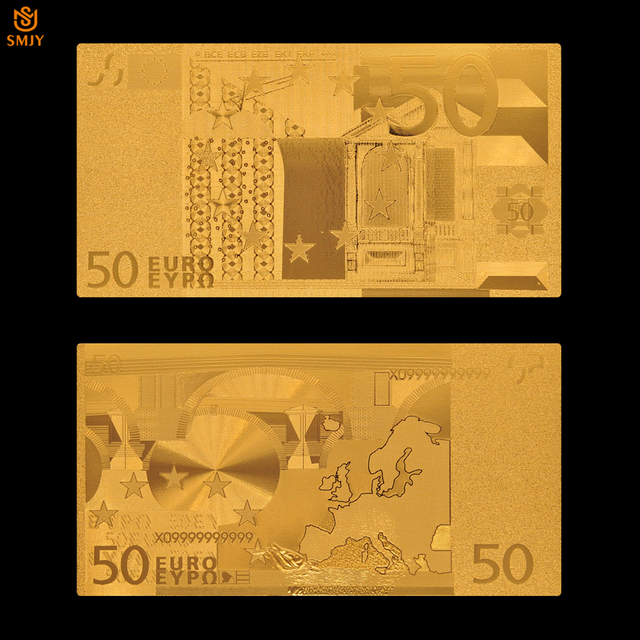Euro Gold Banknote Colored 50 Plated Bills Paper Money 24k Value