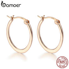 BAMOER Authentic 925 Sterling Silver Classic Round Circle Big Hoop Earrings for Women Sterling Silver Earrings Jewelry SCE478(China)