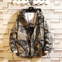 #2909 Hip Hop Camouflage Jacket Men Safari Style Vintage Army Windbreaker With Hooded Big Pockets Loose Plus Size 5XL 2019Spring