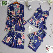 2019 Spring Women Pajamas Sets With Pants Sexy Lace 4 Pieces Pijama Mujer Home Clothes Fashion Flower Print Pyjama Sleepwear