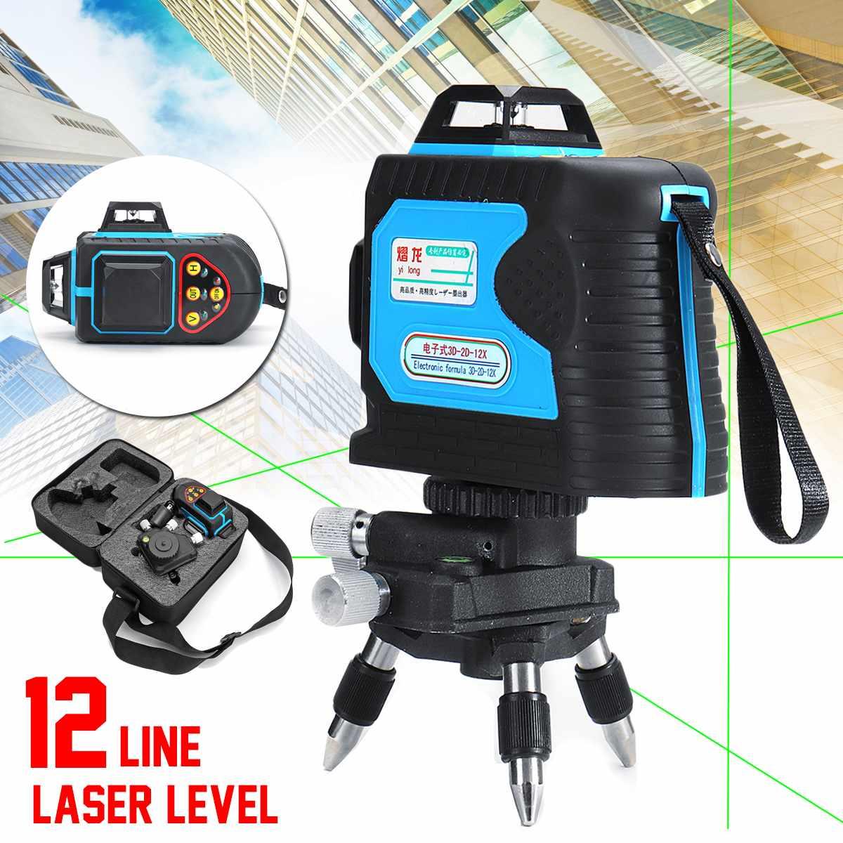 Vert Laser Niveau 3D Précision Auto Nivellement 360 120X12 Lignes Télécommande Antichoc 532nm Longueur D'onde Rechargeable Précis