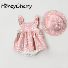 2019 baby rompers New Summer Clothes Fashion cute cherry Prints kids clothing dress with hat Jumpsuits