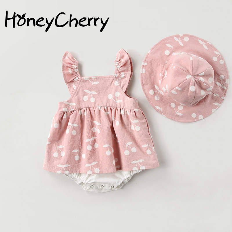 2020 Baby Rompers New Summer Clothes Fashion Cute Cherry Prints Kids Clothing Rompers Dress With Hat Jumpsuits