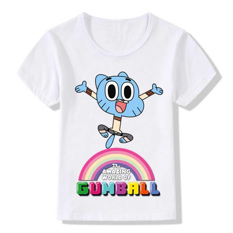 Crianças Moda O Incrível Mundo De Gumball Design Engraçado Camisetas Roupa Dos Miúdos Bonitos Dos Desenhos Animados Das Meninas Dos Meninos Tops de Verão T, HKP5125