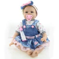 22 Beautiful Full Simulation Silicone Baby Girl Reborn Baby Doll in Skirt
