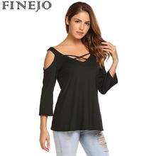 купить Summer Women T Shirt Casual 3/4 Sleeve V Neck Hollow Out Shoulder Criss Cross Solid Autumn Tee Tops for women Clothing по цене 559.66 рублей