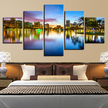 Canvas Printed 5 Pieces Seaside City Building Nightscape Paintings Home Decor For Living Room Wall Art Poster Pictures Artwork seaside sunset sandbeach printed split unframed canvas paintings
