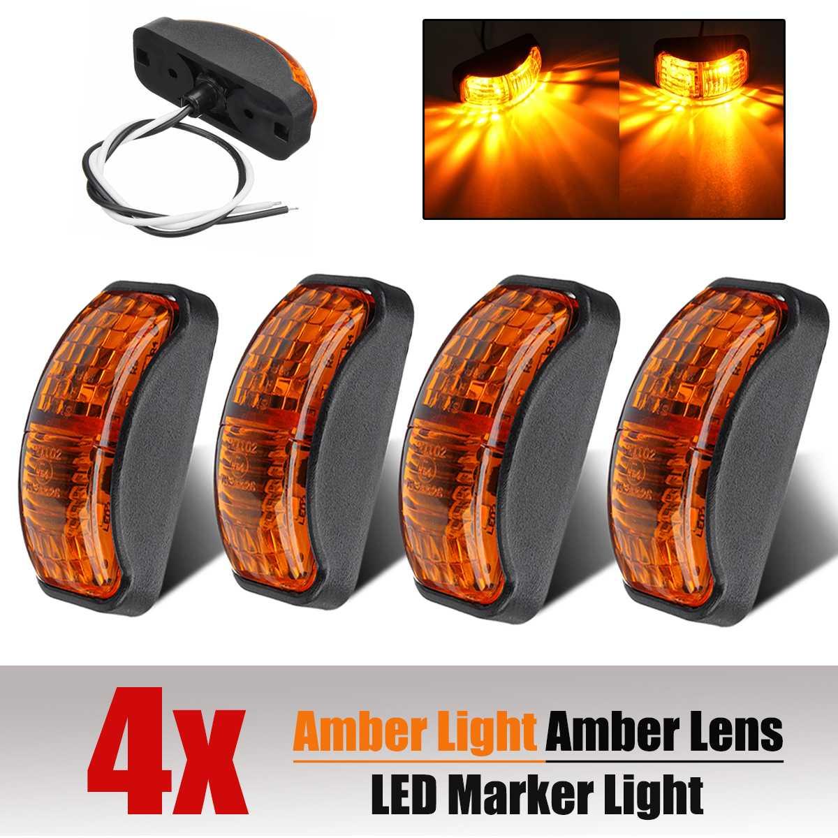 4x 12V-30V 2 SMD LED Car Auto Truck Trailer Side Marker Light Blinker Amber Indicator Led Lights Accessories DC12-30v
