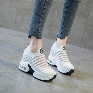 Image 2 - ฤดูร้อนสตรีภายในความสูงรองเท้า WEDGE แพลตฟอร์มลื่นบนรองเท้าผ้าใบลิฟท์