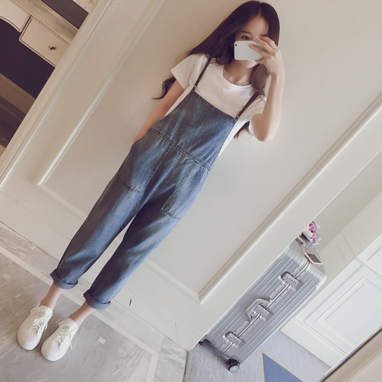 Spring Summer Women Jumpsuit Rompers Loose Denim Preppy Style Solid Pocket Sleeveless Washed Jeans Jumpsuits