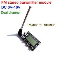Digital lcd 2 canais fm estéreo transmissor placa de transmissão áudio sem fio fm 78mhz a 108mhz módulo com antena