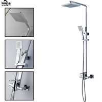 Bathroom Shower Set Brass Chrome Wall Mounted Shower Faucet Shower Head Water Saving Nozzle Aerator Shower Column