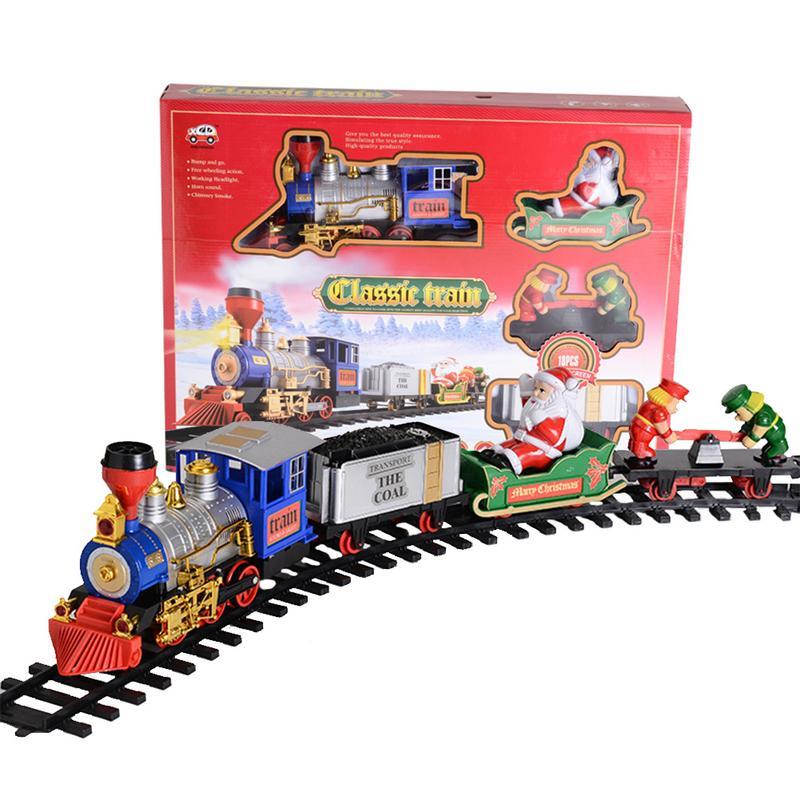 Santa Claus Piste Train À Vapeur Électrique Train Classique Simulation Jouet Piste Fumée Lumière Musique De Noël Classique Train Ensemble