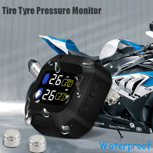 Wireless Motorcycle TPMS Tire Tyre Pressure Monitor System + External SensorsWireless Motorcycle TPMS Tire Tyre Pressure Monitor System + External Sensors