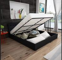 VidaXL 140 X 200 Cm Artificial Leather Bed Elegant Design Solid Living Room Comfortable Bed Assembly With Storage Space