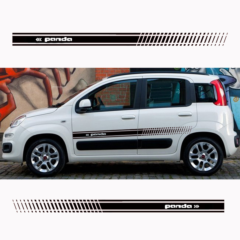2Pcs Stylish Car Door Side Sticker Vinyl Body Decal Racing Stripe Sticker For Fiat Panda Car Accessories