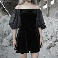 Gothic Rock Sexy Velvet Dress Women Slash Neck Mesh Lantern Sleeve Mini Dresses
