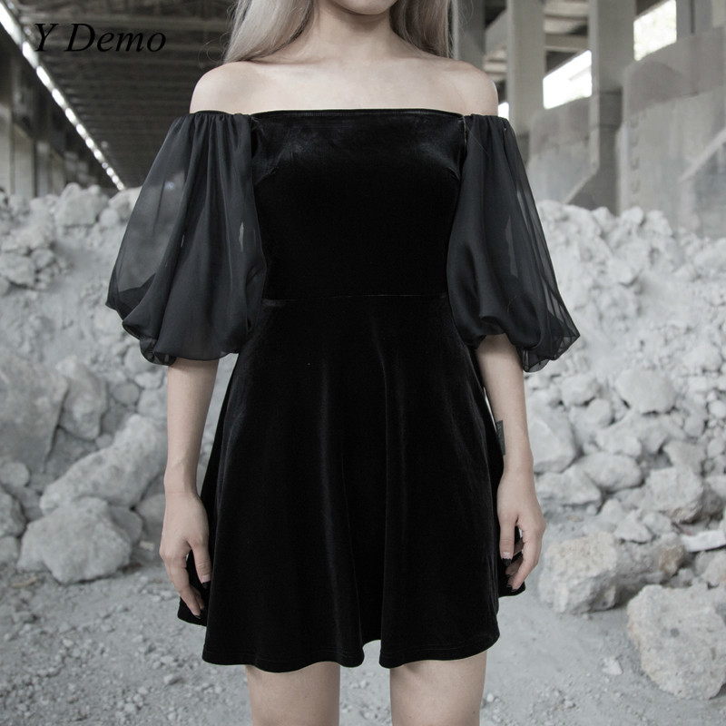 Gothique Rock Sexy velours robe femmes Slash cou maille lanterne manches Mini robes