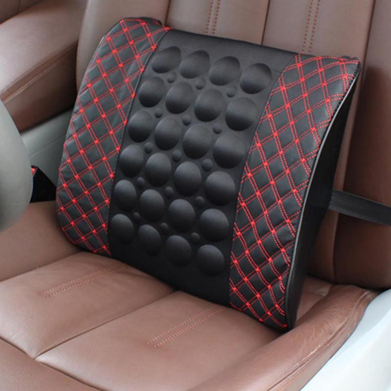 12 v masaje eléctrico asiento de coche Lumbar apoyo almohada algodón suave asiento trasero Lumbar cintura apoyo cojín almohada promoción
