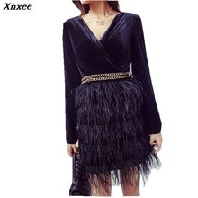 Xnxee Autumn Women Party Dress 2019 Designer Black Wine Red Patchwork Feathers Sexy V Neck Bodycon Laies Pencil