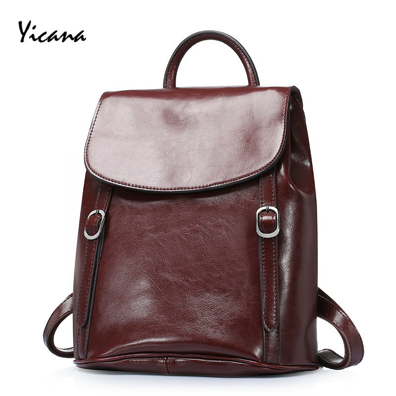 Yicana 2018 Spring/Summer New style Fashion Oil Wax Cowhide Woman BackPack Popular Travel BagsYicana 2018 Spring/Summer New style Fashion Oil Wax Cowhide Woman BackPack Popular Travel Bags