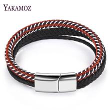 Fashion Men's Genuine Leather Braid Bracelets Punk Stainless Steel Magnetic Clasp Bangles Handmade Wristband Male Jewelry Gift classic men woman genuine leather bracelet tainless steel charm bracelets for male gift magnetic clasp punk wristband