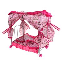 Simulation Miniature Princess Bed with Curtain Pretend Play Role Playing Game Doll House Accessories Decoration Educational Toys
