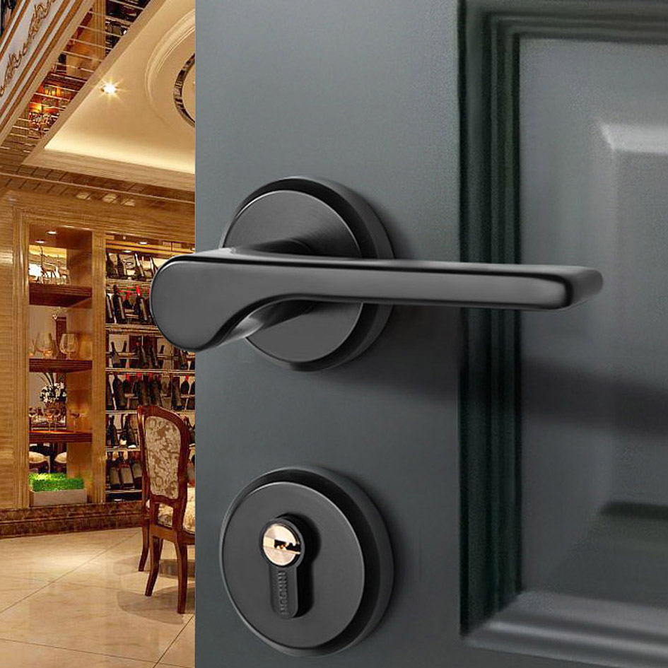 Black Zinc Alloy Lock US Style Indoor Home Solid Wood Door Handle Mute Door Lock Continental