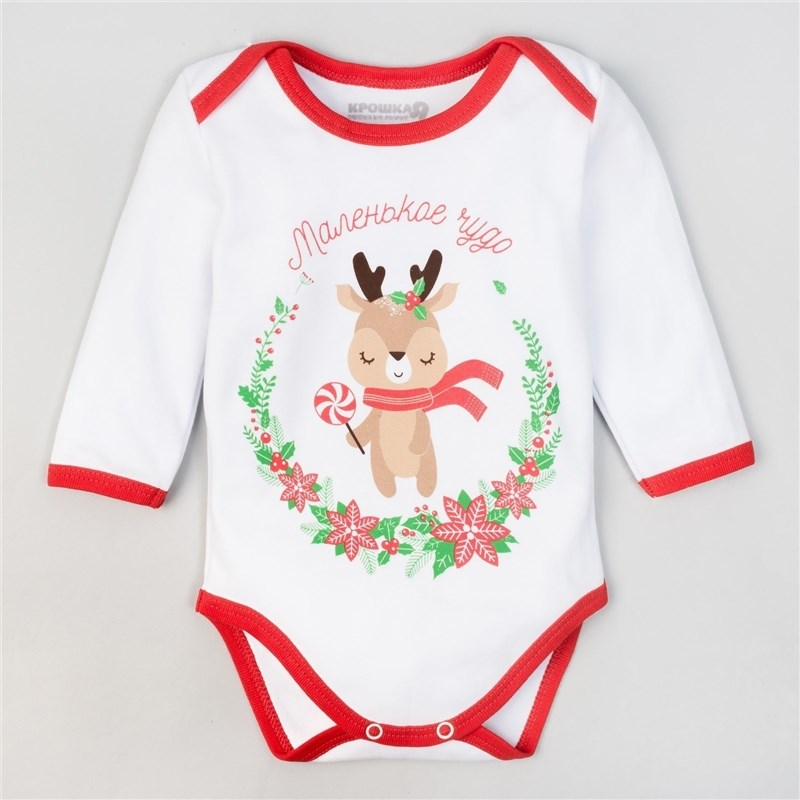 Bodysuit Crumb I Christmas Little Deer, height 62-68 cm (3-6 month), 100% CHL, interlock socks crumb i fruit pineapple 6 18 month 100% cotton