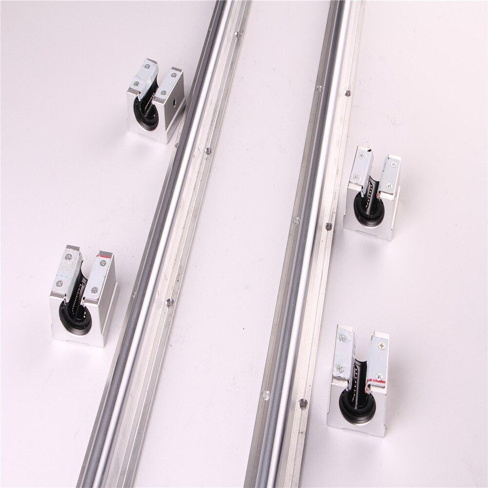 2Pcs SBR16 1000 600 300 Mm Linear Rail Fully Supported Shaft Rod + 4 SBR16UU Bearing Slide Block