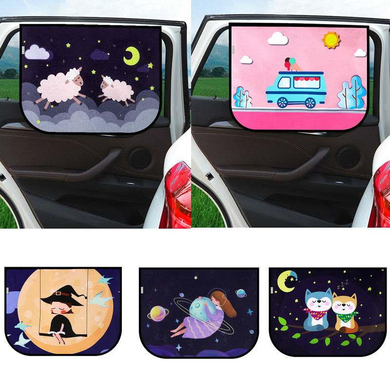 Universal Car Sun Shade Cover UV Protect Curtain Side Window Sunshade Cover For Baby Kids Cute Cartoon Car Styling in Side Window Sunshades from Automobiles Motorcycles