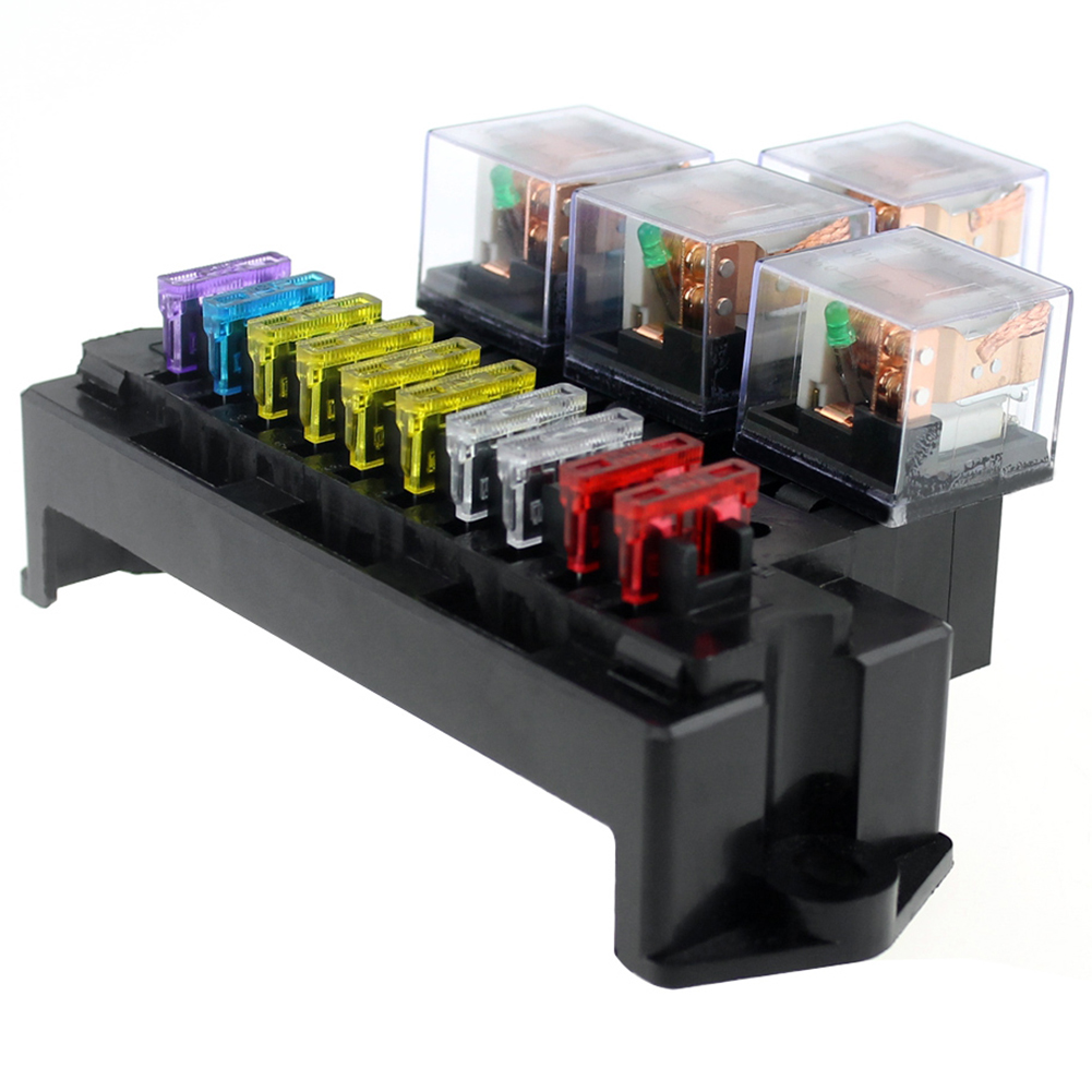 us $14 2 20% off 10 way fuse box 5 pin socket base relay fuse holder block with 13pcs standard blade fuses universal for auto interior parts in fuses marine fuse block universal relay fuse box wiring diagram