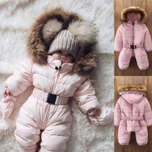 Зимняя плотная одежда для снежной погоды зимний комбинезон-жакет с капюшоном для маленьких мальчиков и девочек, детская верхняя одежда, комбинезон, пальто