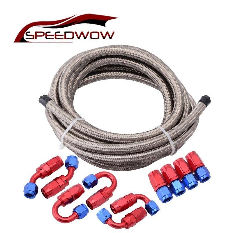 SPEEDWOW AN4/6/8/10/12 0 + 45 + 90 + 180 Degrés Pivotant Tuyau fin Connecteur Adaptateur + Double En Acier Inoxydable Tressé Tuyau De Carburant Huile Ligne 5 m