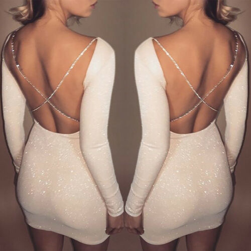 2019 Arrival Women Long Sleeve Backless Bodycon Party Cocktail Short Dress Sexy Dress