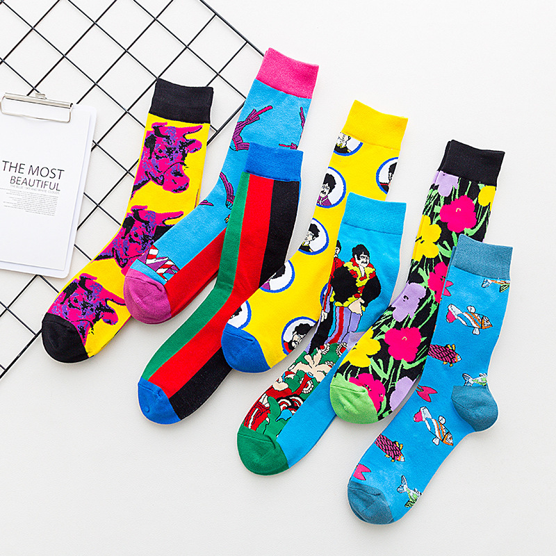 PEONFLY New Cotton Men Crew   Socks   Colorful Comic Pattern Hip Hop Happy   Socks   Funny Casual Harajuku Novelty Calcetines Hombre