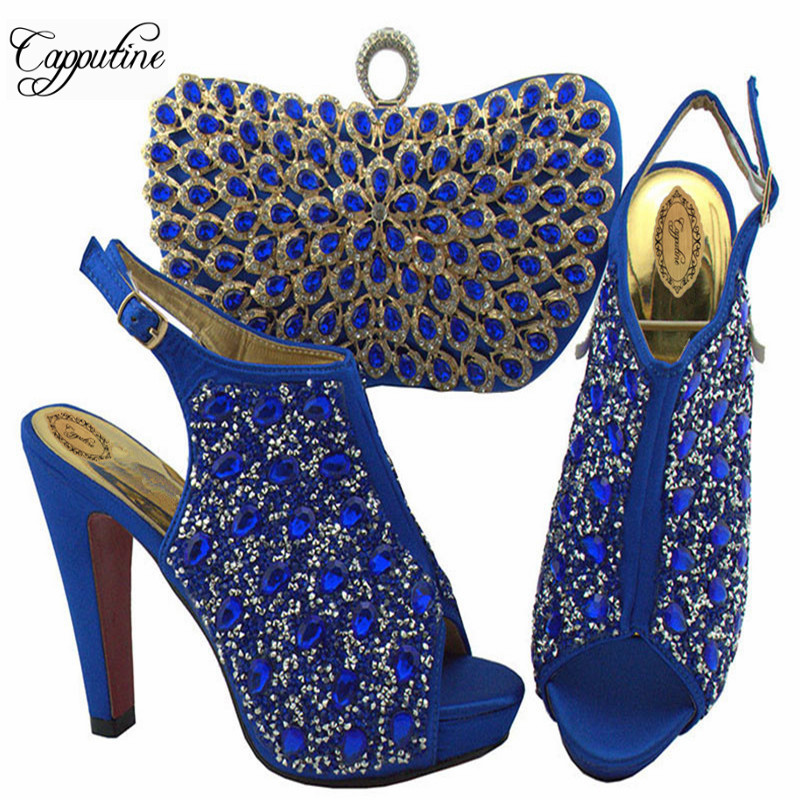 Royal Blue Color Italian Crystal Shoes And Bag Set African Rhinestone High Heels Shoes And Bag