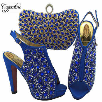 Royal Blue Color Italian Crystal Shoes And Bag Set African Rhinestone High Heels Shoes And Bag To Match Set For Party SL005 - DISCOUNT ITEM  27% OFF All Category