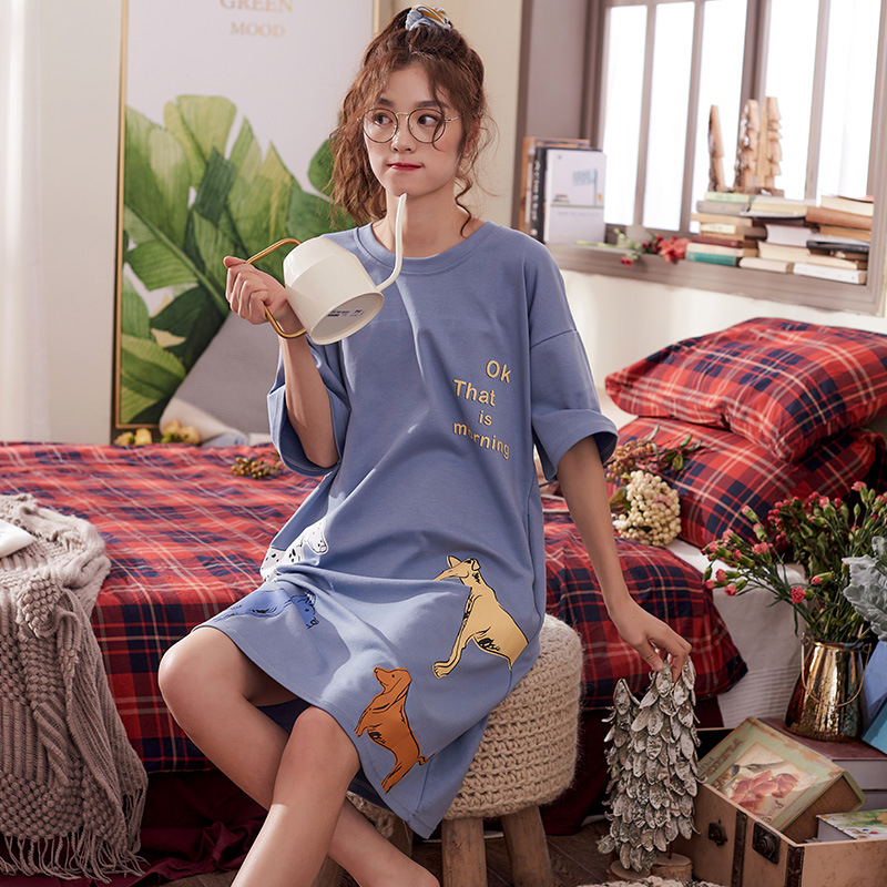 New Pajamas For Women Cotton Pyjama Summer Short Sleeved Night Dress Cartoon Girl Version Loose Pijamas Dress Female SleepWear in Sleep Tops from Underwear Sleepwears