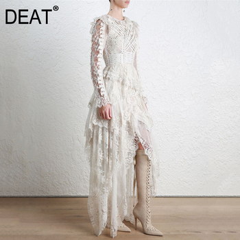 DEAT 2020 new summer fashion women clothes round neck vintage court styles lace hollow out sexy asymmetrical dress WF74600L