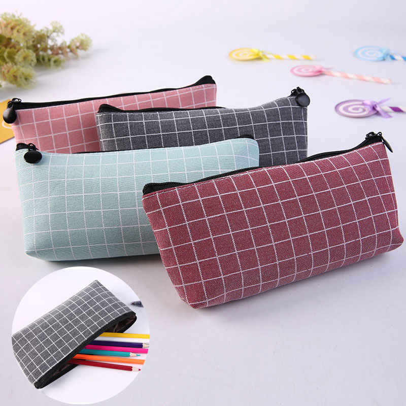 Grid Pencil Case Kawaii Concise Solid Color Canvas Pencil Bag Creative Pencilcase For Kids Gifts School Supplies Cute Stationery