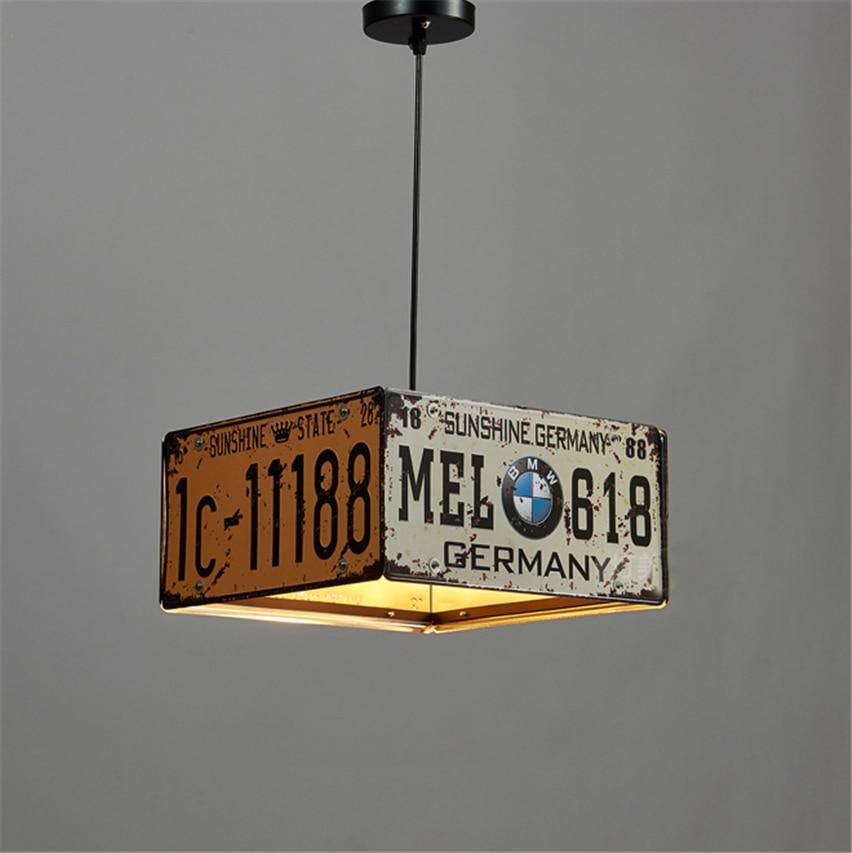 Vintage Loft Chandelier Lighting Retro License Plate LED Pendant Lamp Light Iron Dining Room Bedroom Light Restaurant Bar Decor retro italy aplomb lucidi pevere vintage foscarini led e27 pendant light for dining room restaurant decor lamp 1376