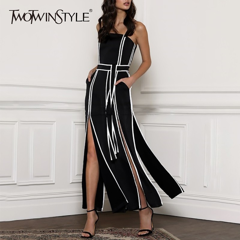 TWOTWINSTYLE Spring Hit Color Sleeveless Jumpsuit Women Strap High Waist Bandages Split Wide Leg Pants Female Fashion 2020