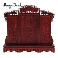 Rosewood Chinese Dragons Screen Model 1/6 Dollhouse Miniature Furniture Room Decor for Hot Toys Figures Barbie