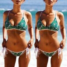 128ec4452 Mulheres Bandeau Bandage Biquíni Set Push Brasileiro Swimwear Beachwear  Swimsuit Folhas Verdes Imprimir Bonito Traje(
