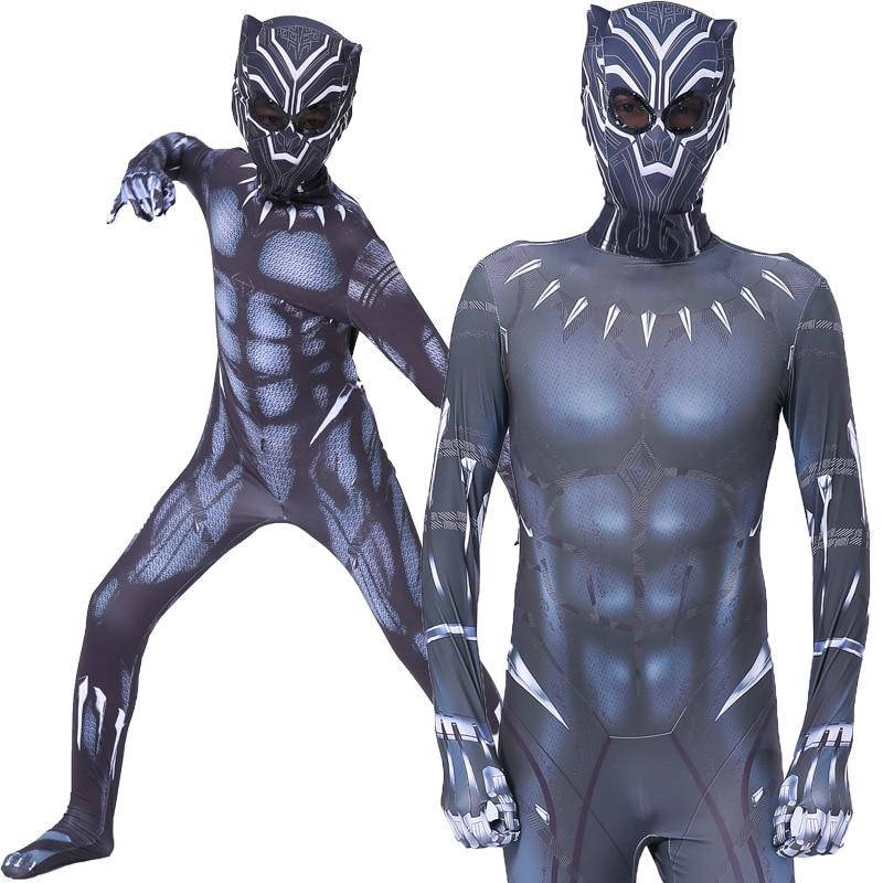 Black Panther Costume Kids Adult Civil War Superhero Costume Cosplay Children Men Superhero Halloween Party Jumpsuit Zentai Mask