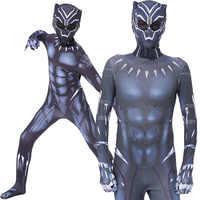Black Panther Kostuum Kids Adult Burgeroorlog Superheld Kostuum Cosplay Kinderen Mannen Superhero Halloween Party Jumpsuit Zentai Masker