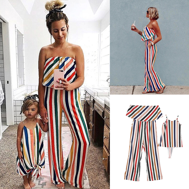 b79b2034e88f0 Family Matching Outfits 2019 Summer Striped Mother and Daughter Clothes Mom  Off-shoulder Ruffle Long Jumpsuit Kids Girls Dresses