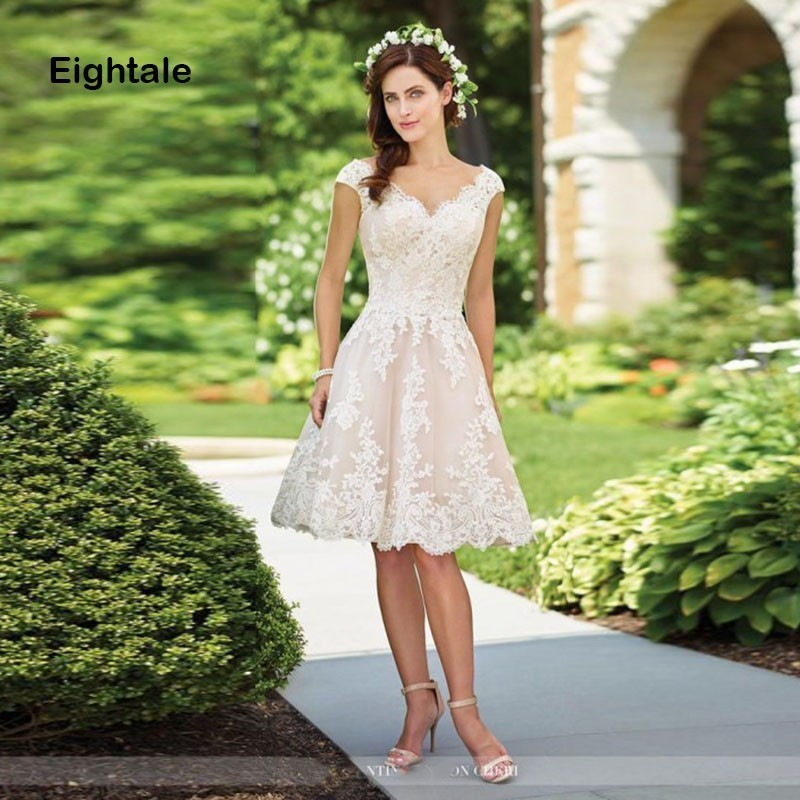 Eightale Short Wedding dress V Neck A Line Princess Bride Dress Beach Simple Appliques Lace Wedding